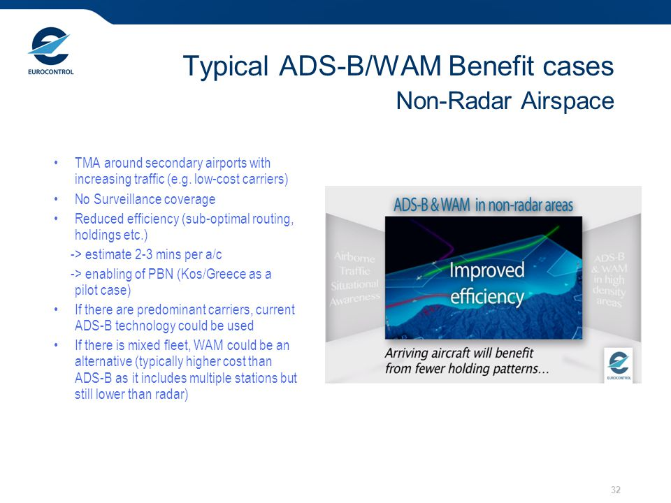 Typical ADS-B/WAM Benefit cases Non-Radar Airspace