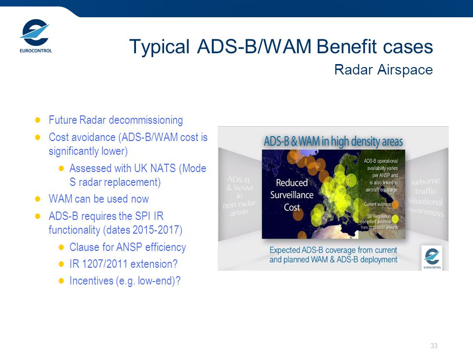 Typical ADS-B/WAM Benefit cases Radar Airspace
