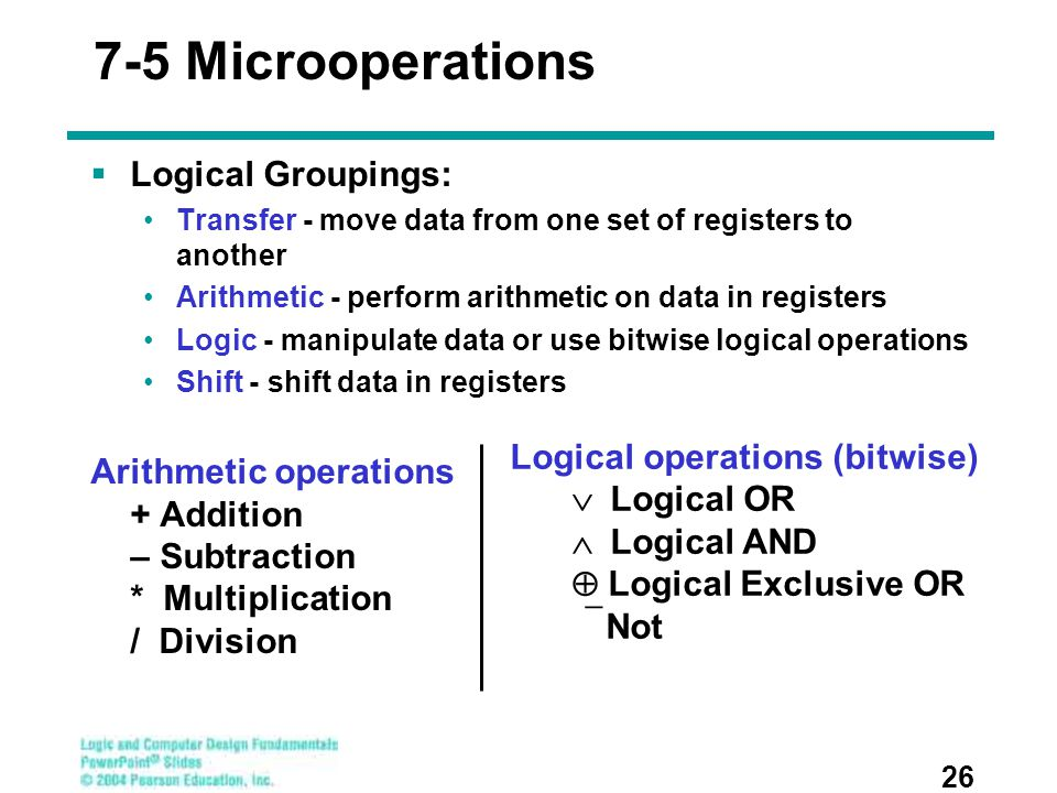 7-5 Microoperations Logical Groupings: