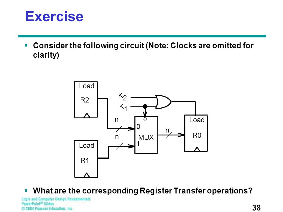 Exercise Consider the following circuit (Note: Clocks are omitted for clarity) What are the corresponding Register Transfer operations