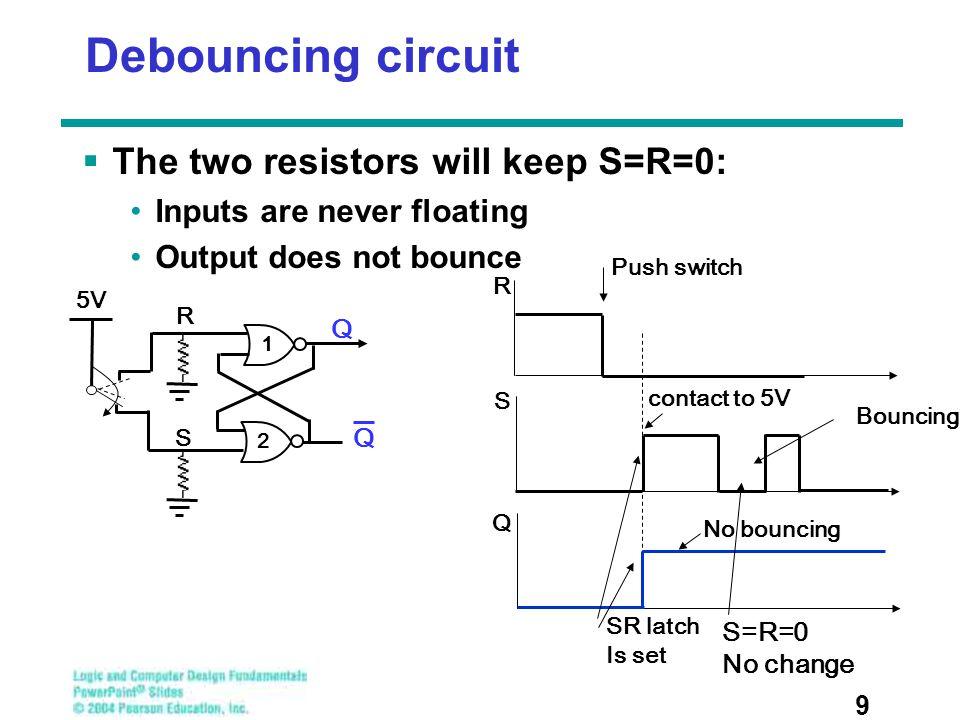 Debouncing circuit The two resistors will keep S=R=0: