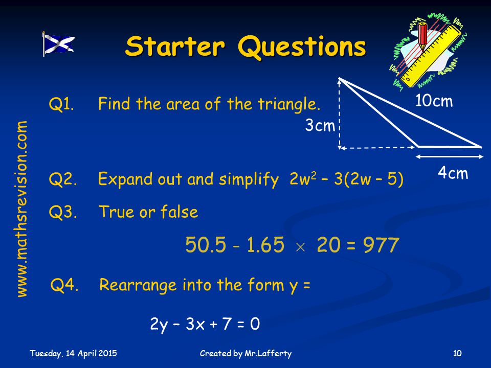 Q4. Rearrange into the form y =
