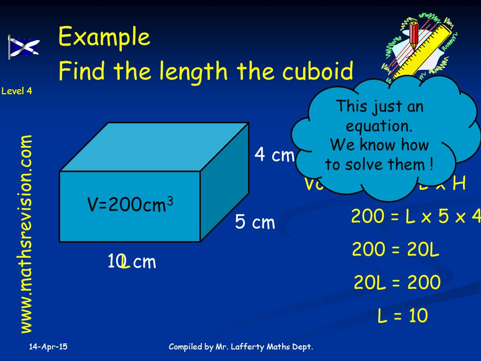 Find the length the cuboid