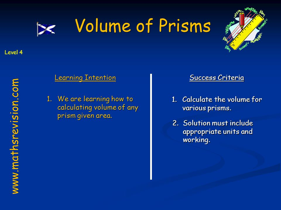 Volume of Prisms www.mathsrevision.com Learning Intention
