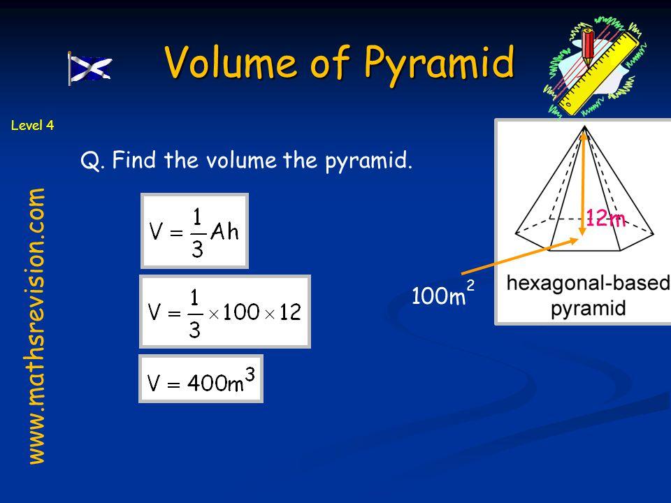 Volume of Pyramid www.mathsrevision.com