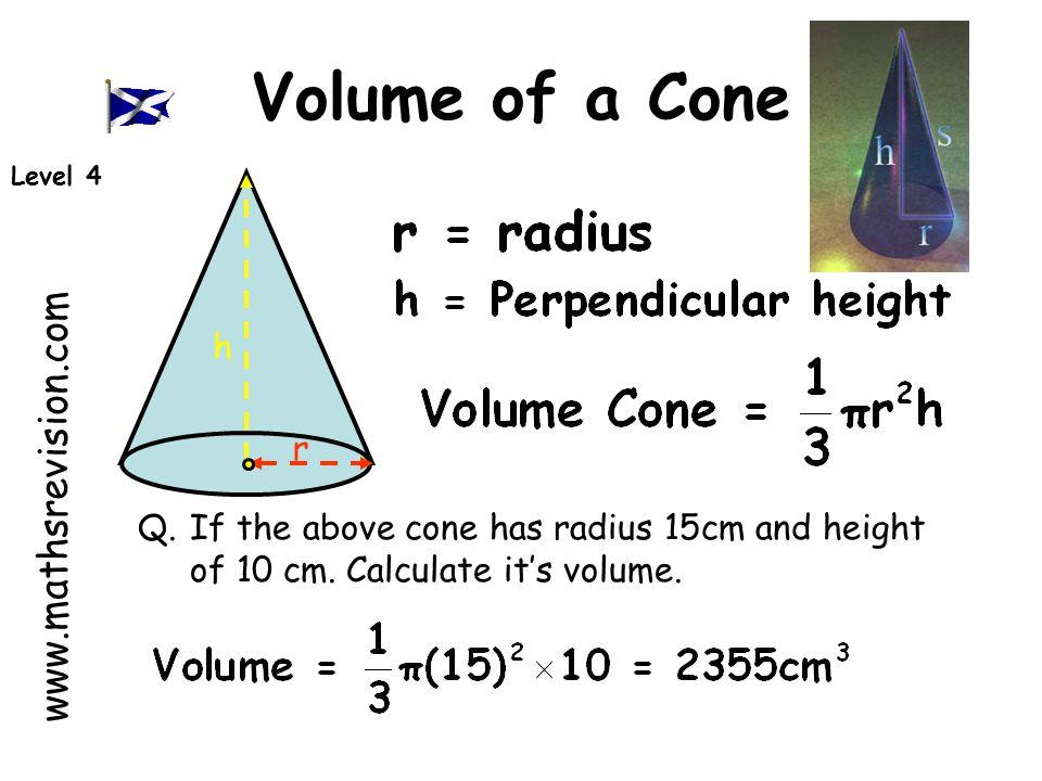 Volume of a Cone www.mathsrevision.com h r