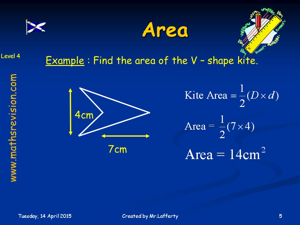 Area Example : Find the area of the V – shape kite.