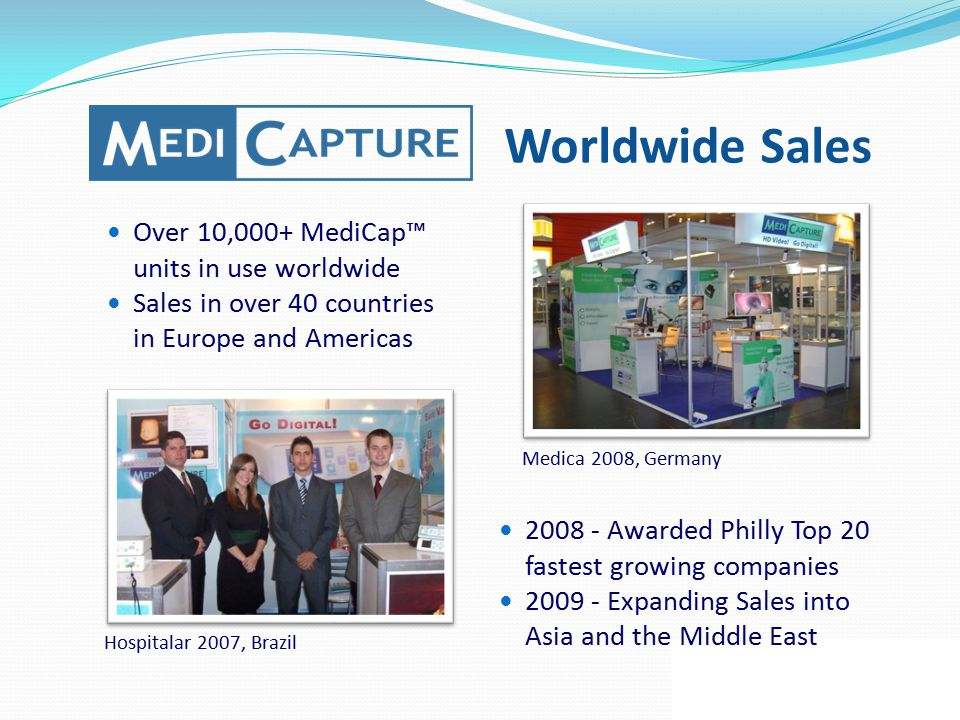 Worldwide Sales Over 10,000+ MediCap™ units in use worldwide