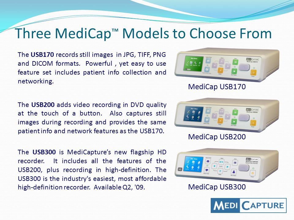 Three MediCap™ Models to Choose From