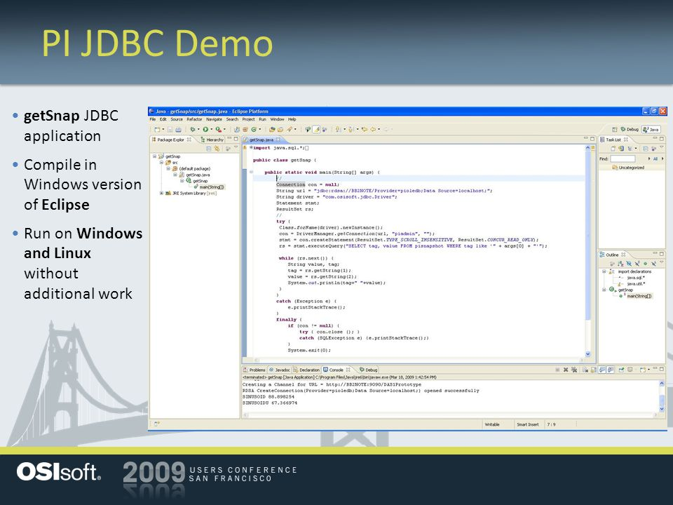 PI JDBC Demo getSnap JDBC application