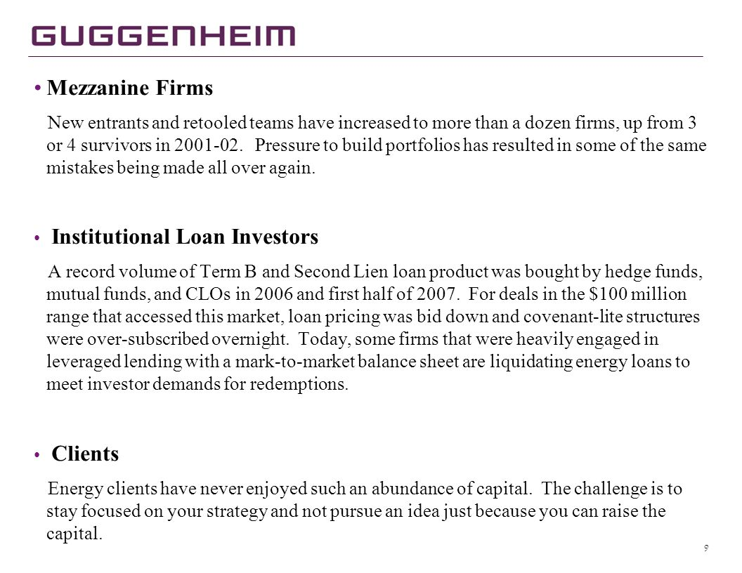 Guggenheim Energy Energy Capital Provider Spectrum