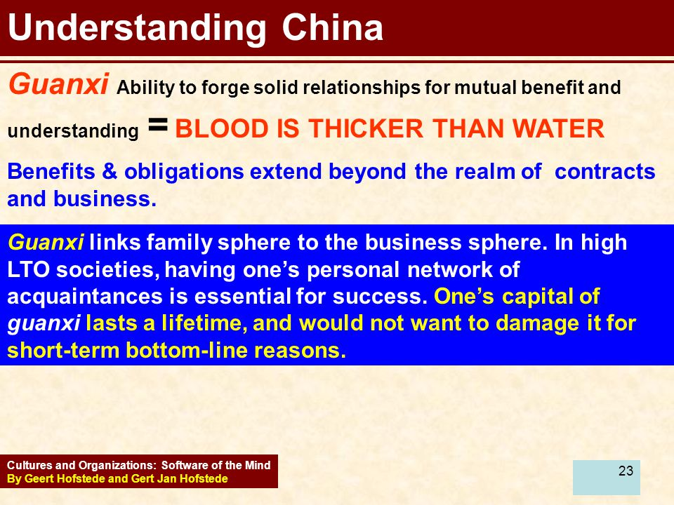 Understanding China Guanxi Ability to forge solid relationships for mutual benefit and understanding = BLOOD IS THICKER THAN WATER.