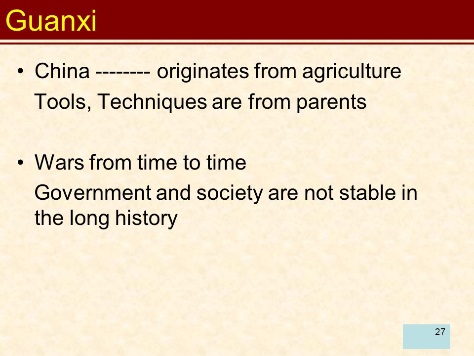 Guanxi China originates from agriculture