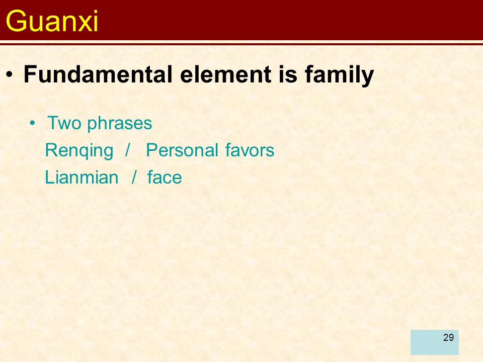 Guanxi Fundamental element is family Two phrases