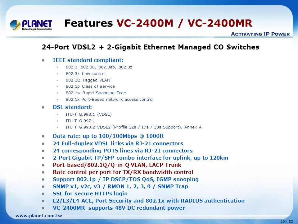 Features VC-2400M / VC-2400MR 24-Port VDSL2 + 2-Gigabit Ethernet Managed CO Switches. IEEE standard compliant: