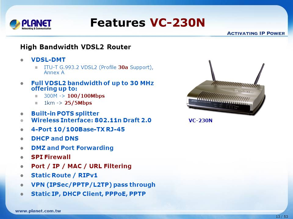 Features VC-230N High Bandwidth VDSL2 Router VDSL-DMT
