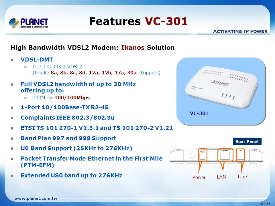 Features VC-301 High Bandwidth VDSL2 Modem: Ikanos Solution VDSL-DMT