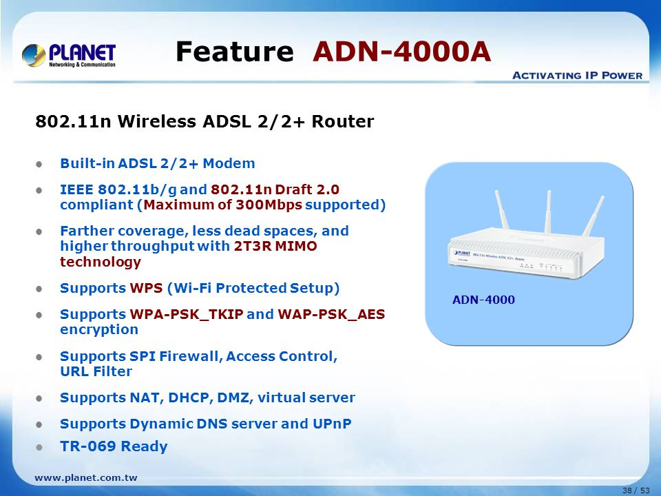 Feature ADN-4000A 802.11n Wireless ADSL 2/2+ Router TR-069 Ready