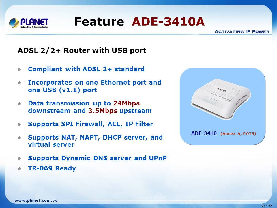 Feature ADE-3410A ADSL 2/2+ Router with USB port