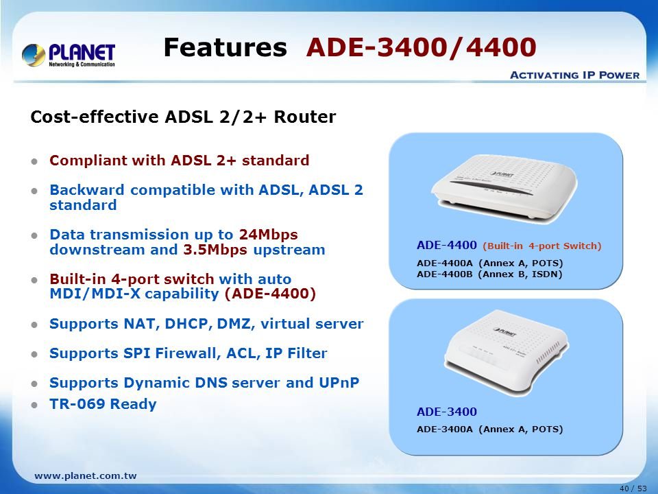 Features ADE-3400/4400 Cost-effective ADSL 2/2+ Router