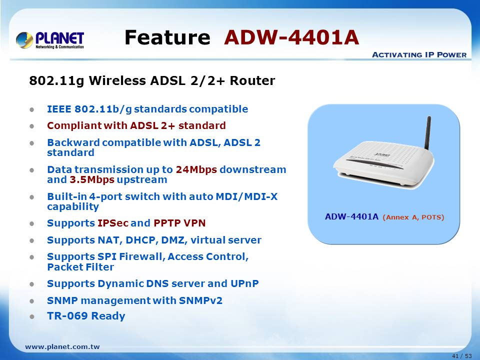 Feature ADW-4401A 802.11g Wireless ADSL 2/2+ Router TR-069 Ready