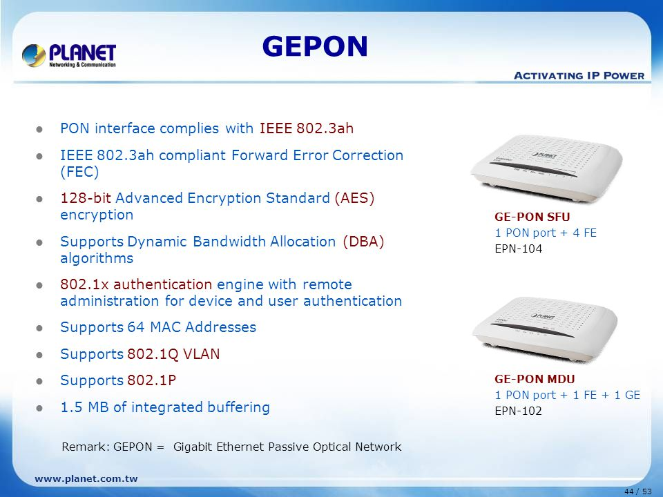 GEPON PON interface complies with IEEE 802.3ah