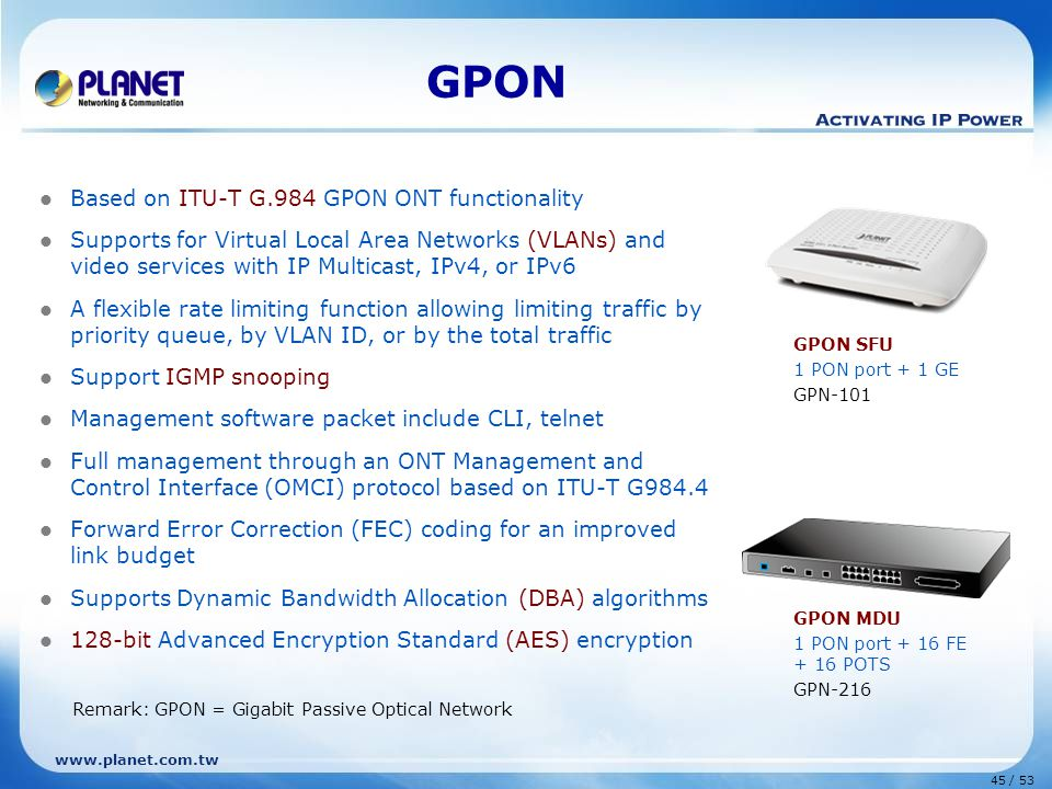 GPON Based on ITU-T G.984 GPON ONT functionality