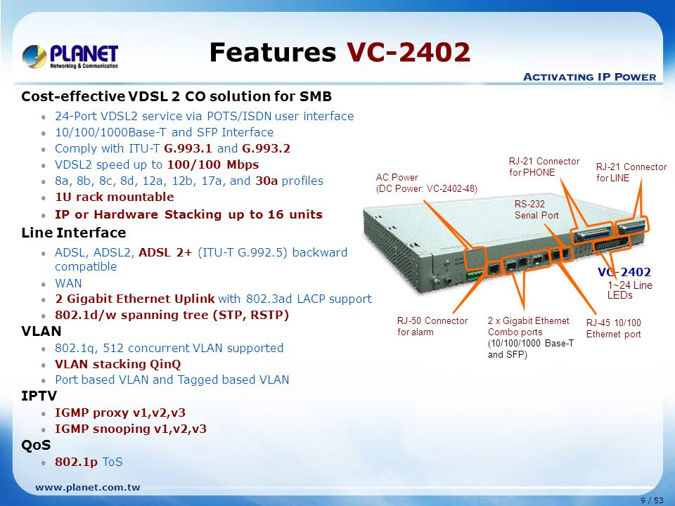 Features VC-2402 Cost-effective VDSL 2 CO solution for SMB