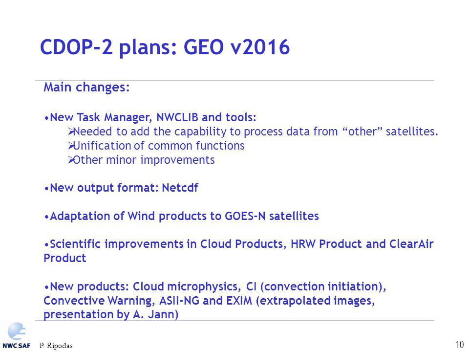 CDOP-2 plans: GEO v2016 Main changes: