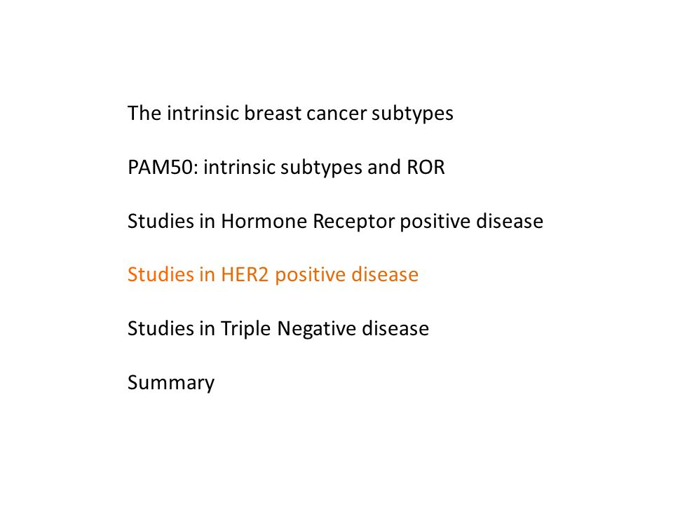The intrinsic breast cancer subtypes