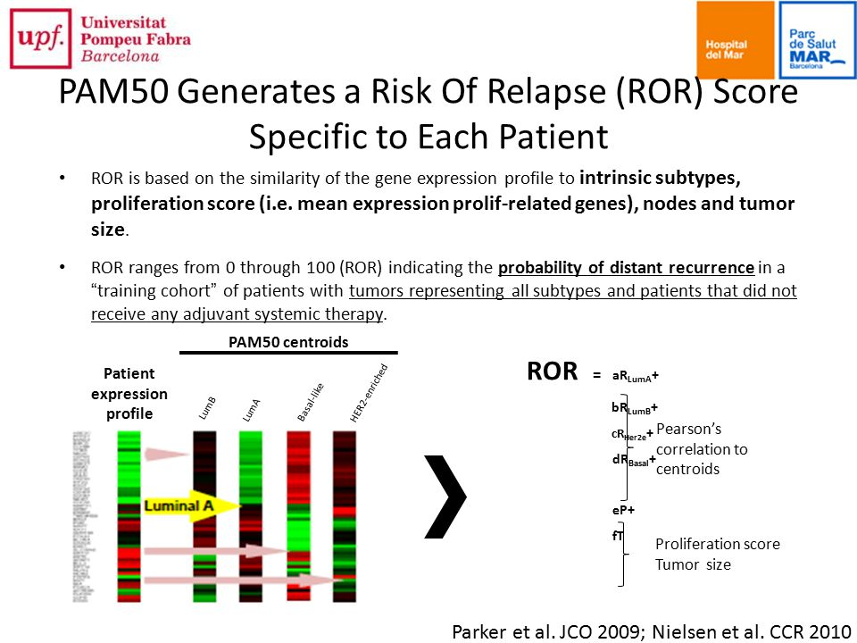 PAM50 Generates a Risk Of Relapse (ROR) Score Specific to Each Patient