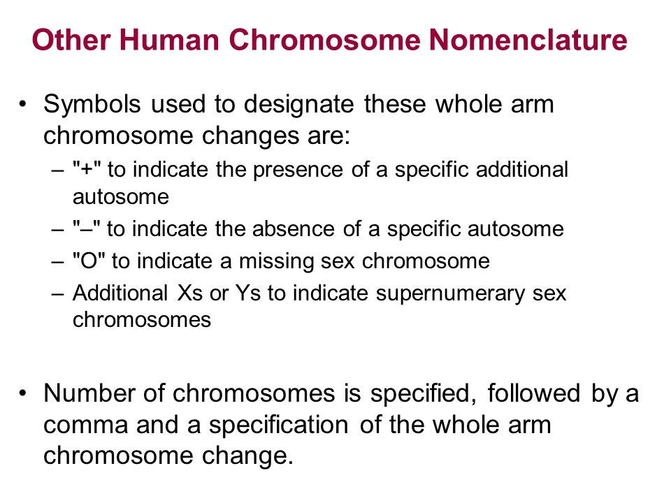 Other Human Chromosome Nomenclature