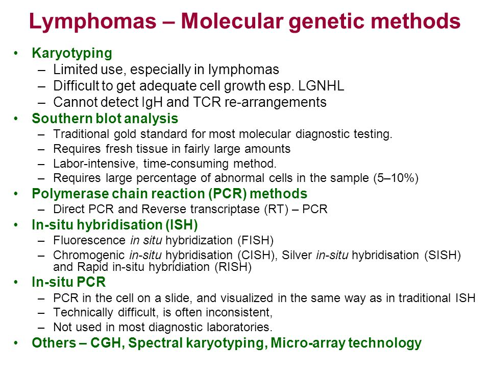 Lymphomas – Molecular genetic methods