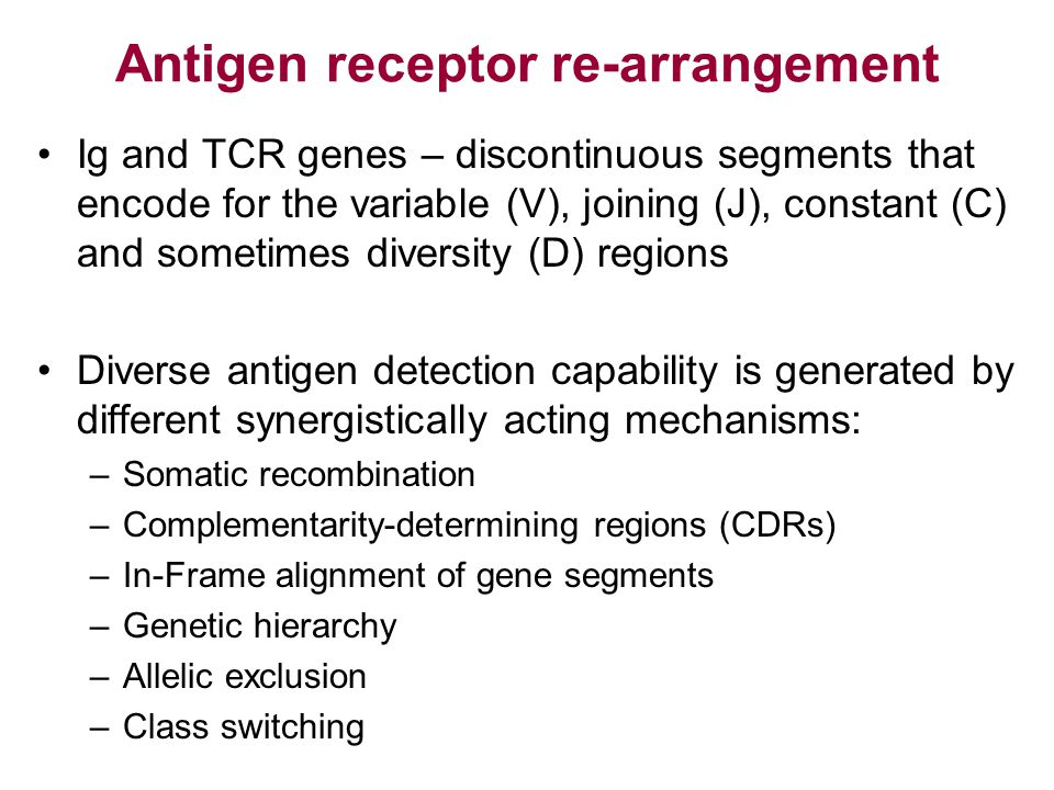 Antigen receptor re-arrangement