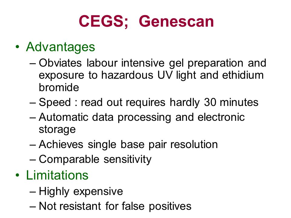 CEGS; Genescan Advantages Limitations