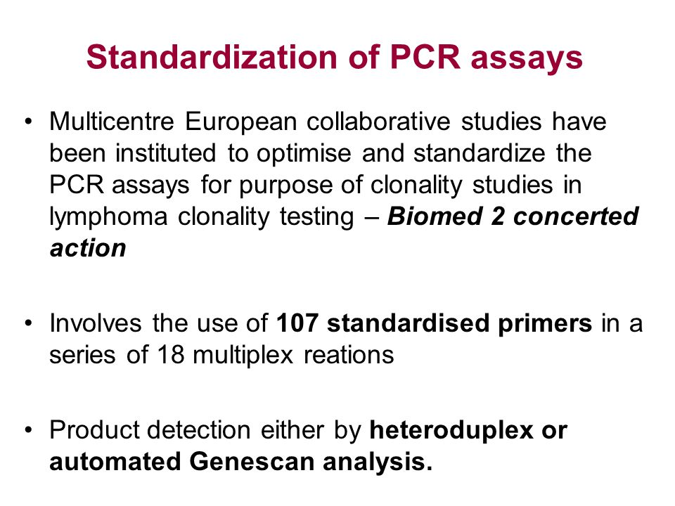Standardization of PCR assays
