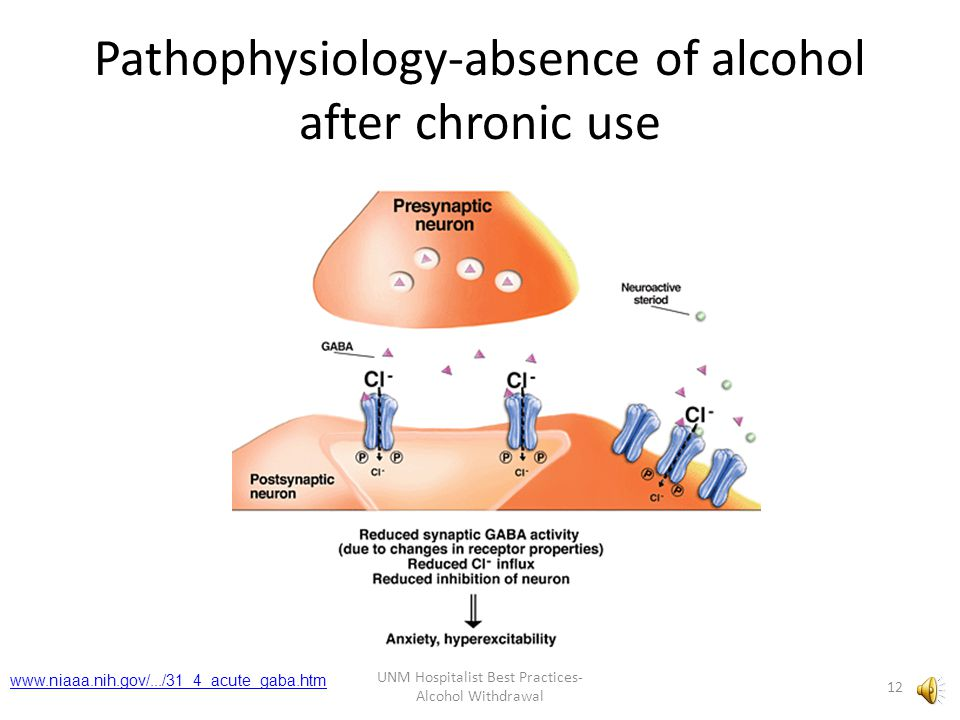 Pathophysiology-absence of alcohol after chronic use