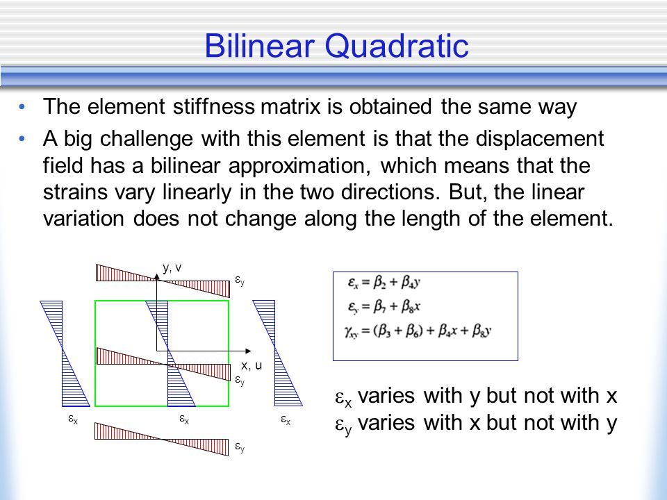 Bilinear Quadratic The element stiffness matrix is obtained the same way.