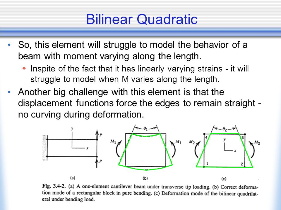 Bilinear Quadratic So, this element will struggle to model the behavior of a beam with moment varying along the length.