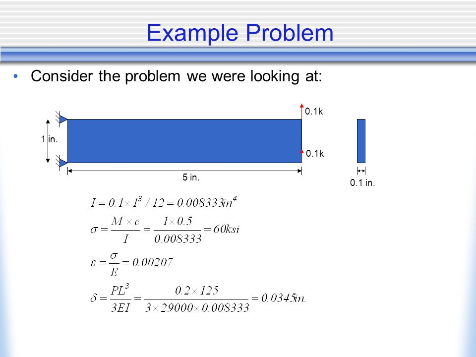 Example Problem Consider the problem we were looking at: 0.1k 1 in.