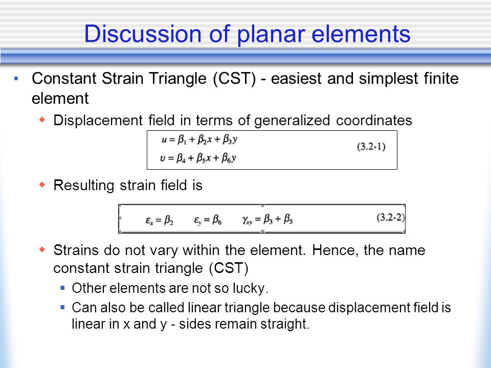 Discussion of planar elements