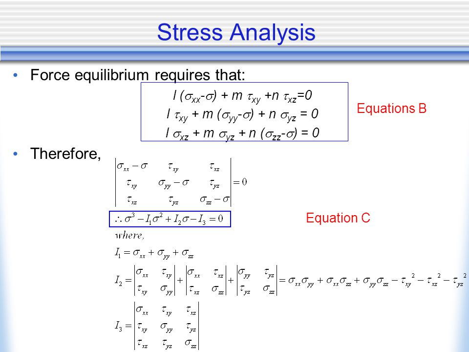 Stress Analysis Force equilibrium requires that: Therefore,