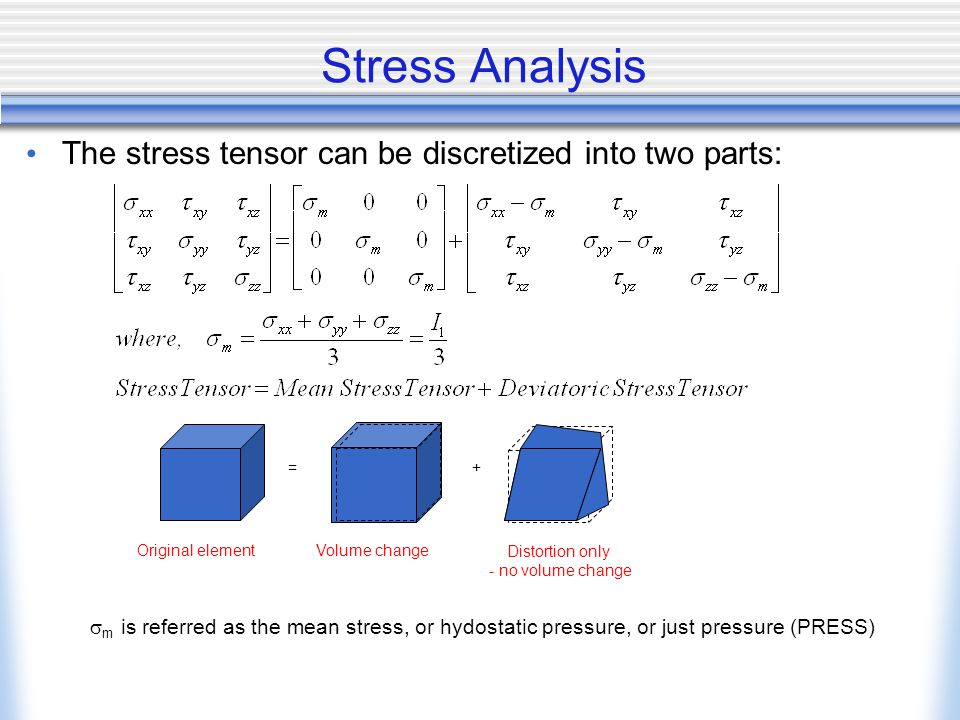 Stress Analysis The stress tensor can be discretized into two parts: