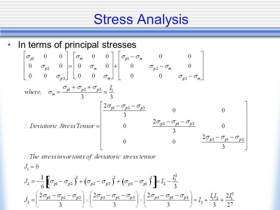 Stress Analysis In terms of principal stresses