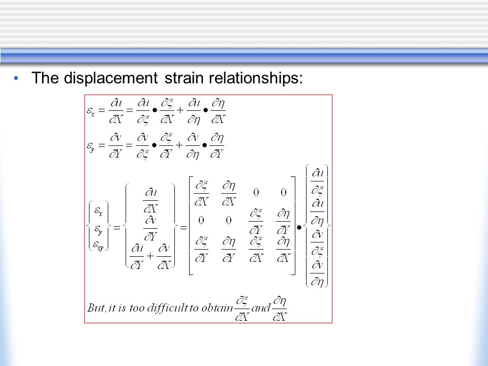 The displacement strain relationships: