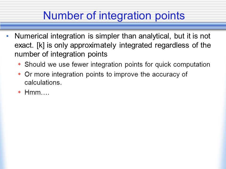 Number of integration points