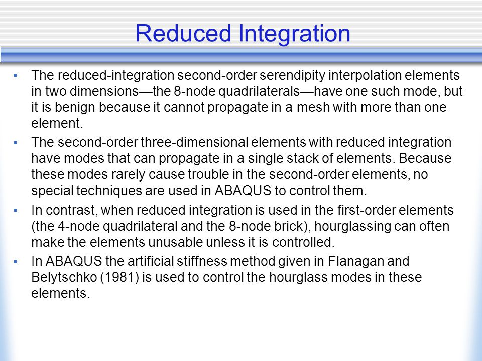 Reduced Integration
