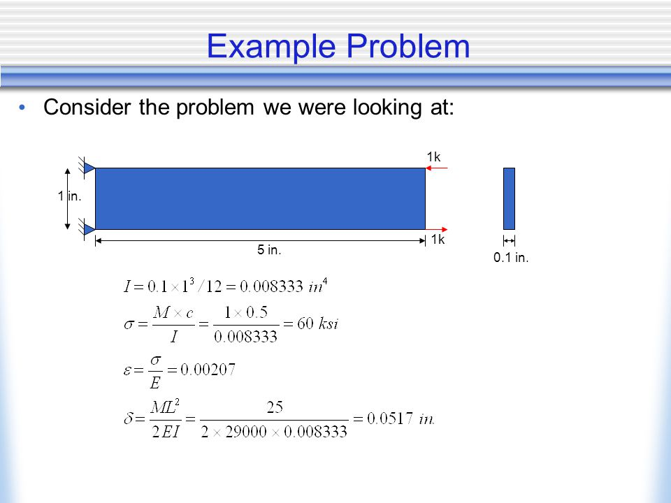 Example Problem Consider the problem we were looking at: 1k 1 in. 1k