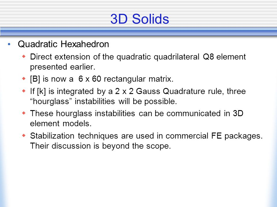 3D Solids Quadratic Hexahedron