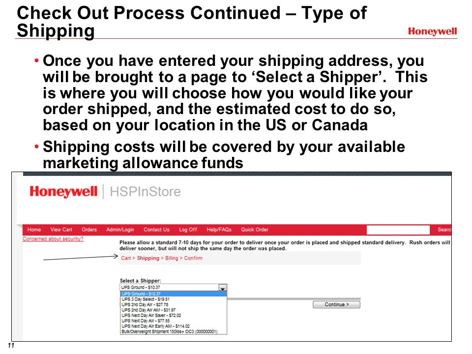 Check Out Process Continued – Type of Shipping